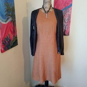 Ann Taylor Rust linen Sheath dress with pockets!